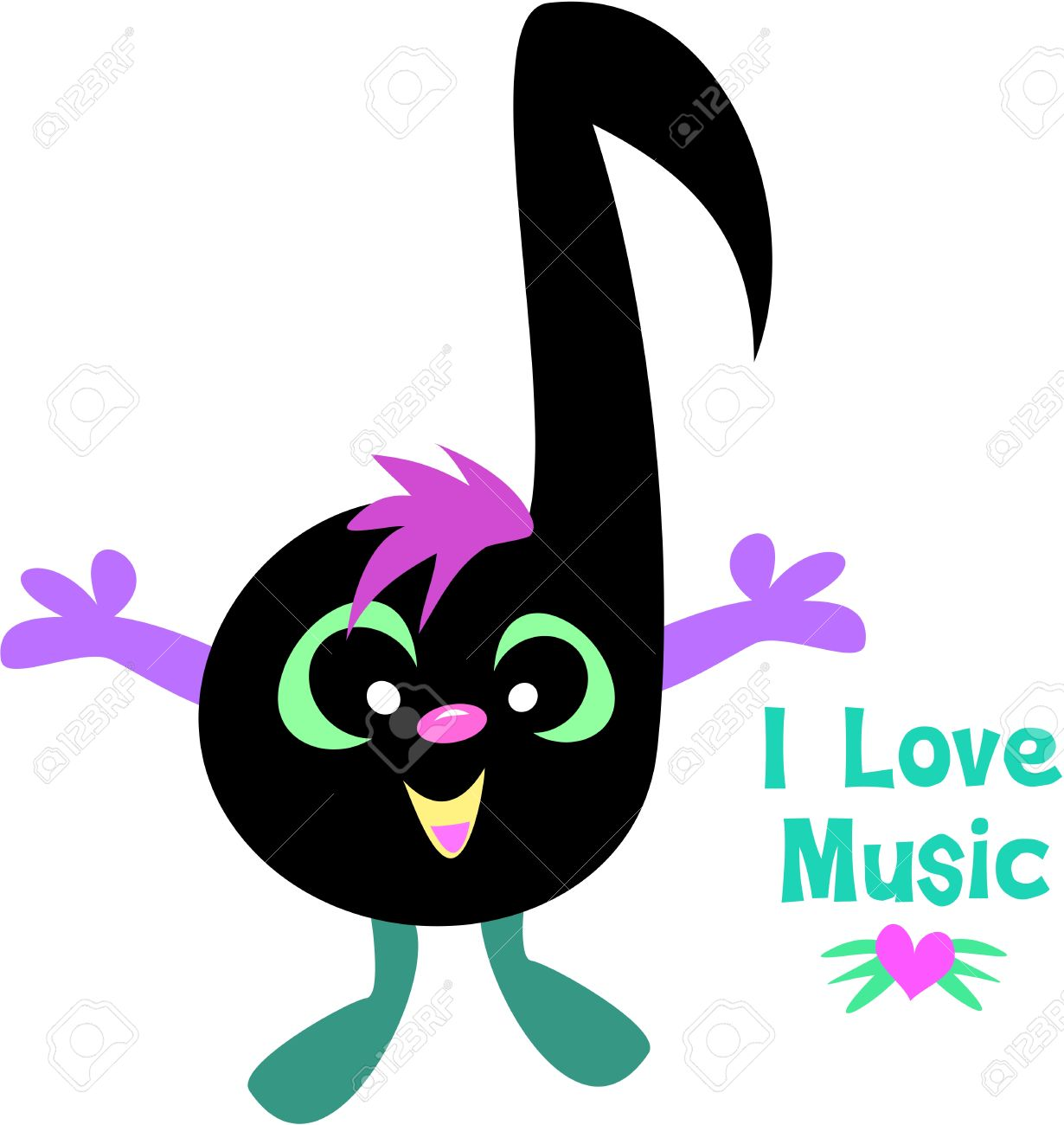 music note saying i love music royalty free cliparts vectors and rh 123rf com Music Note Clip Art Music Notes