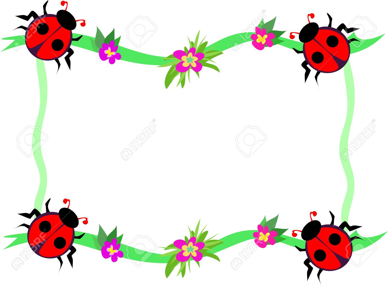 Frame Of Red Ladybugs And Flowers Royalty Free Cliparts, Vectors ...