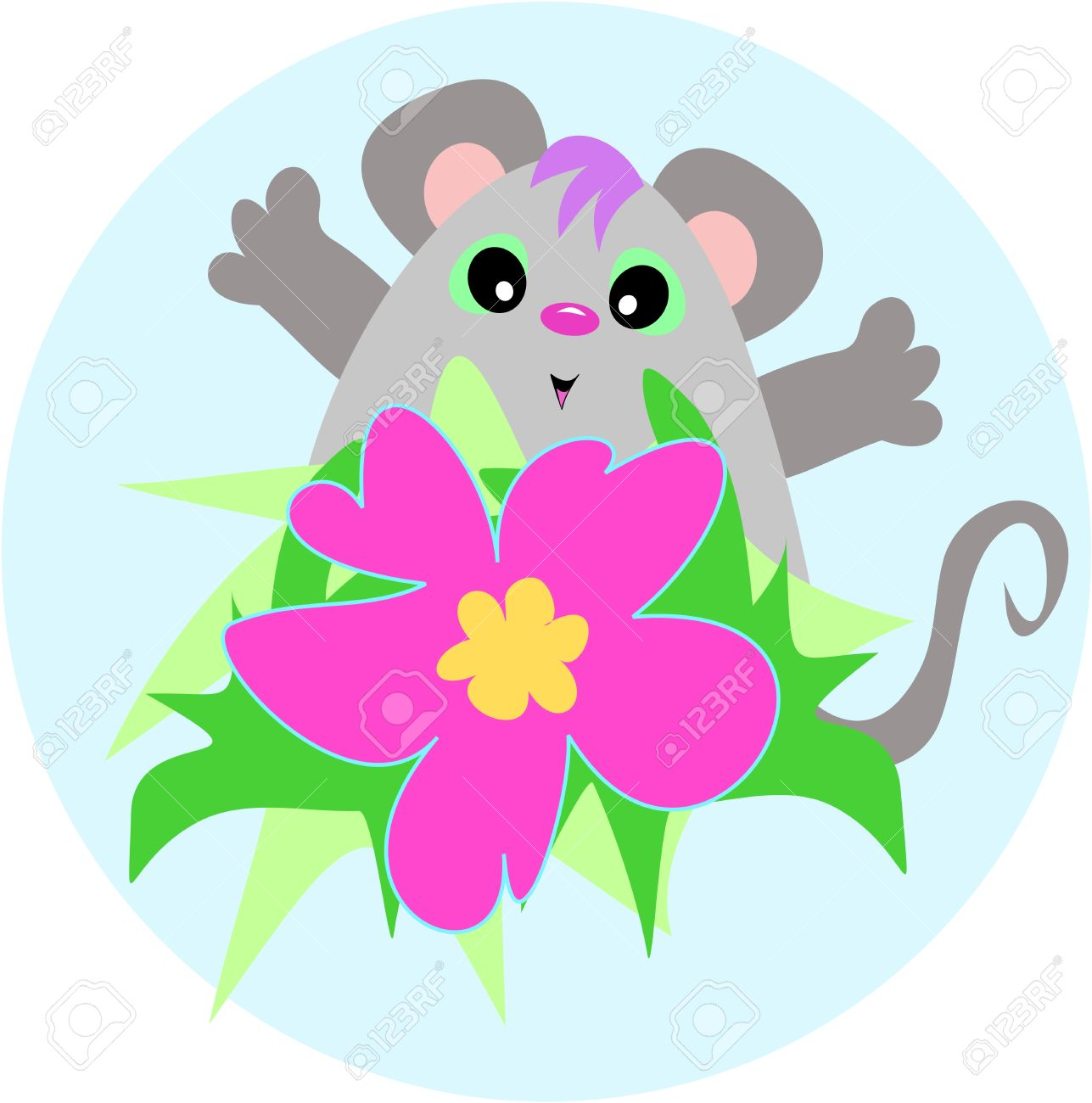 Cute Mouse With A Hibiscus Flower Royalty Free Cliparts Vectors