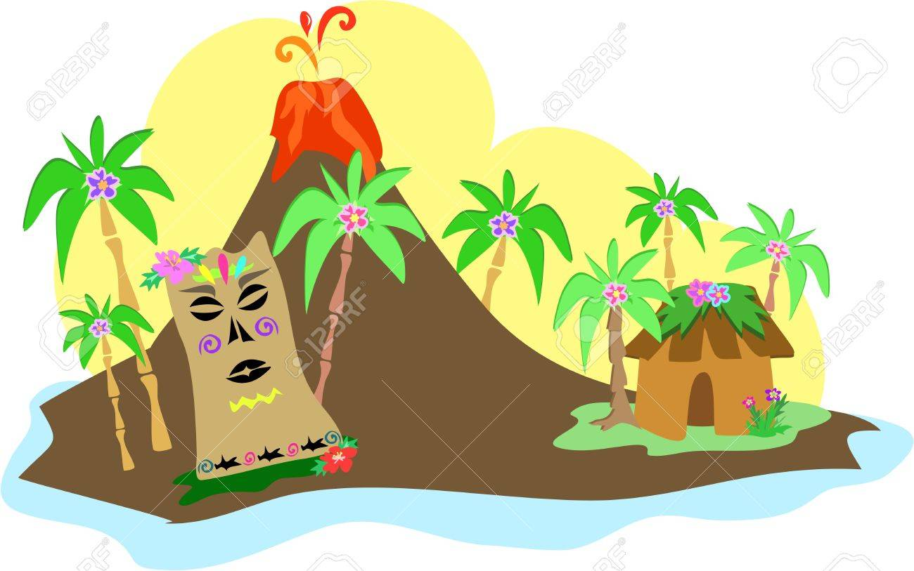 Tiki Island With Volcano Royalty Free Cliparts, Vectors, And Stock ...