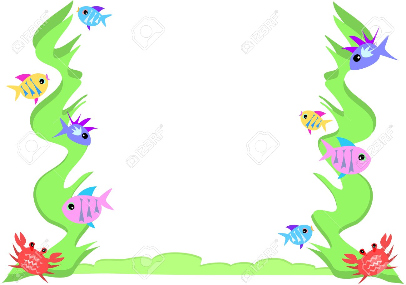 Frame of Fish, Crab, and Seaweed Stock Vector - 4895358