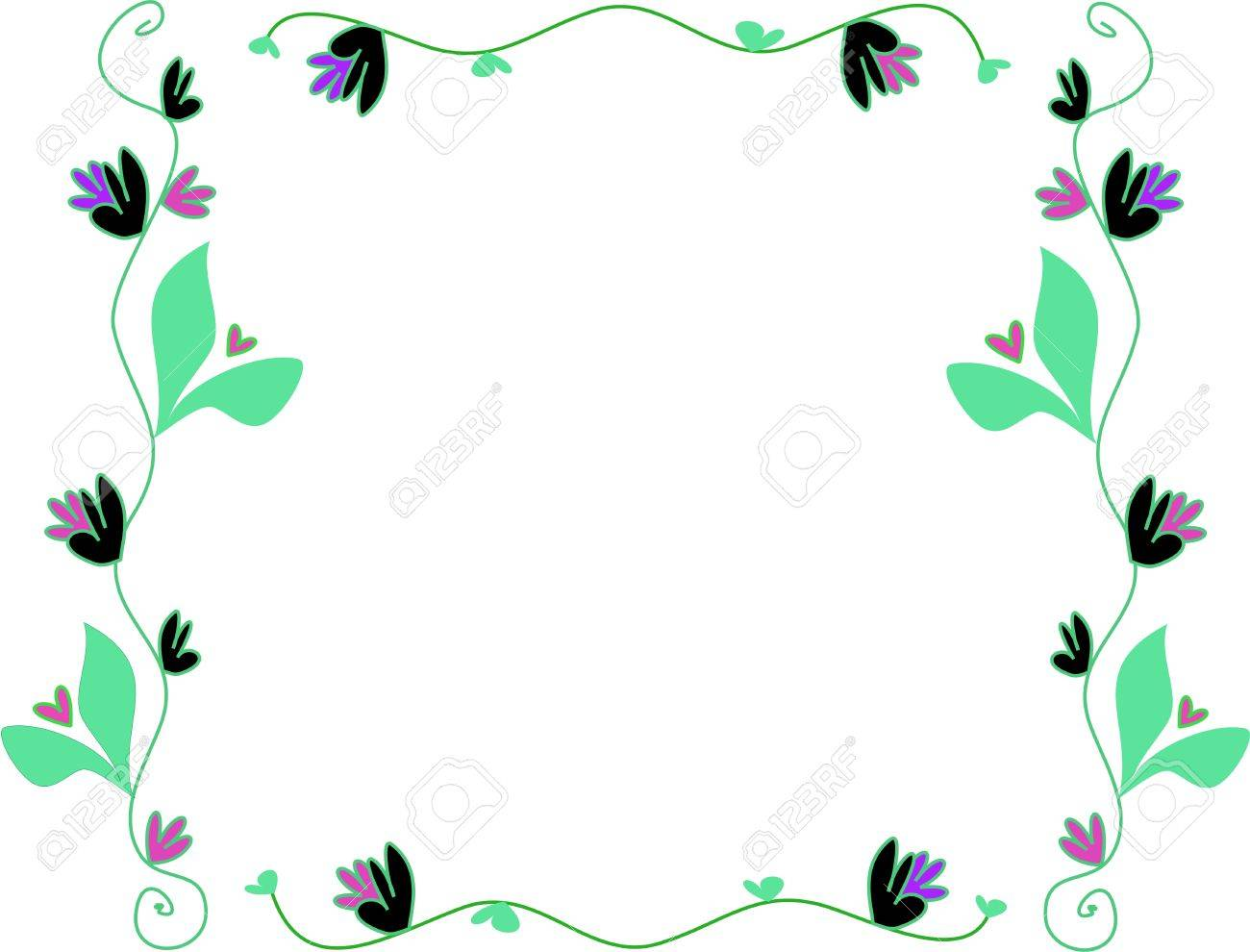 Frame of Delicate Vines and Flowers