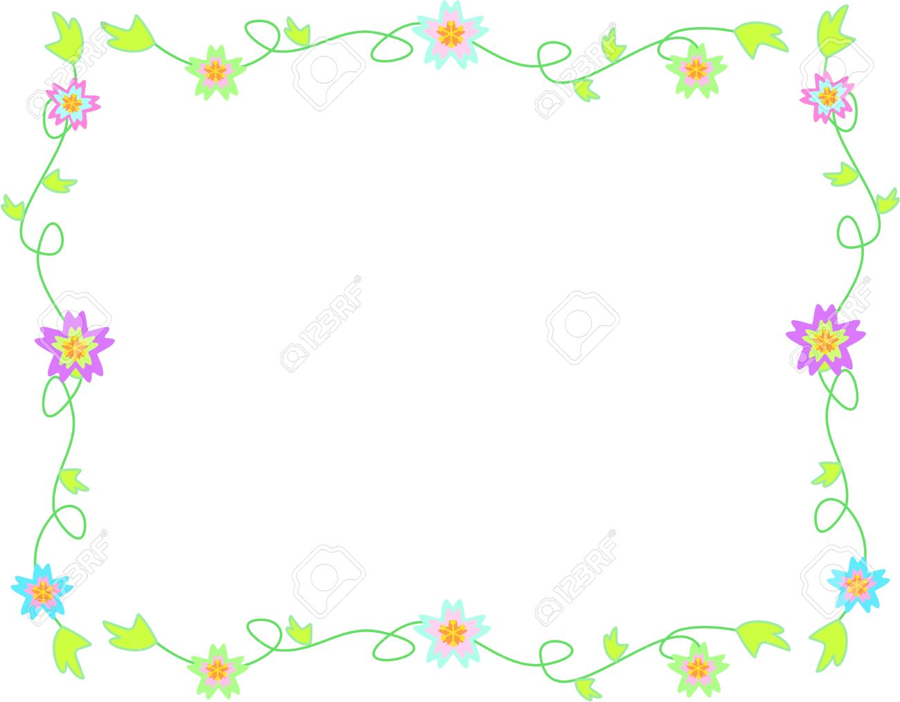 Delicate Frame of Flowers, Vines, and Leaves - 5092081