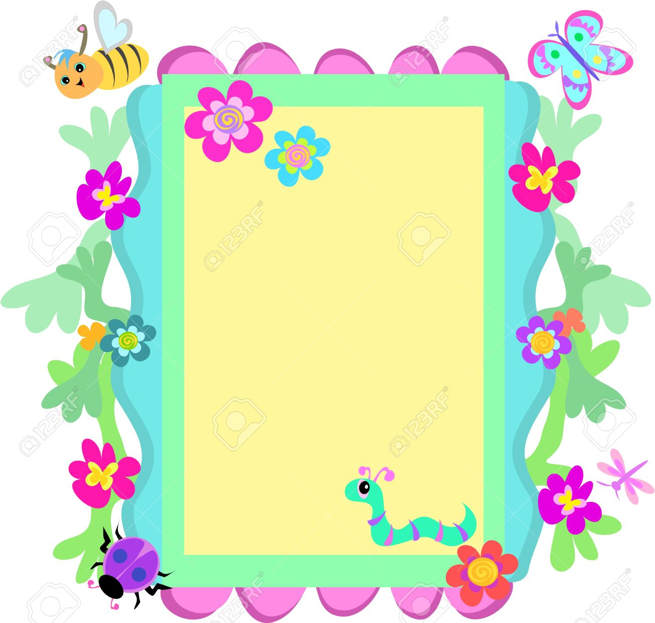 Whimsical Frame Of Flowers And Animals Royalty Free Cliparts