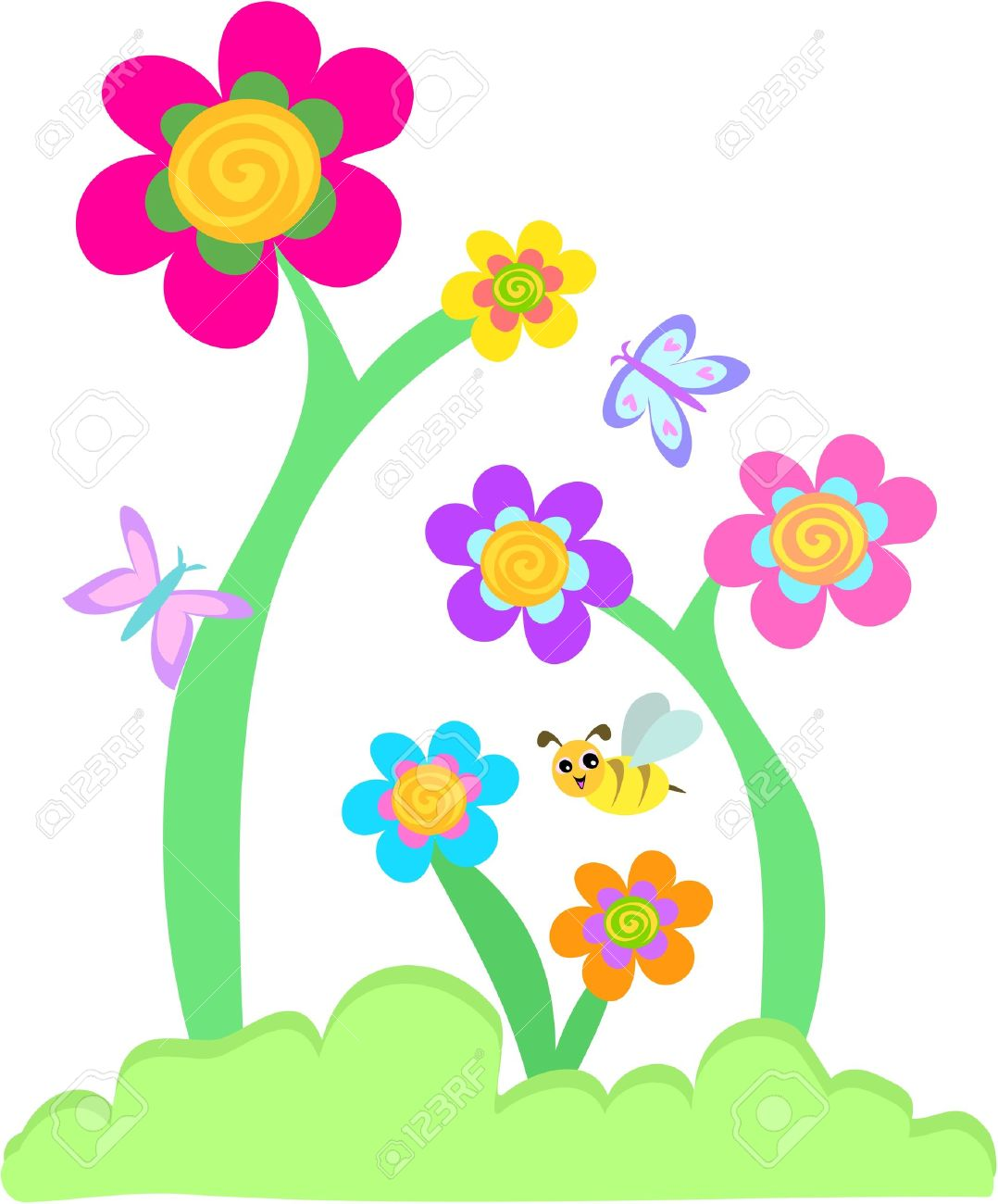 whimsical flower garden with butterflies and bee royalty free
