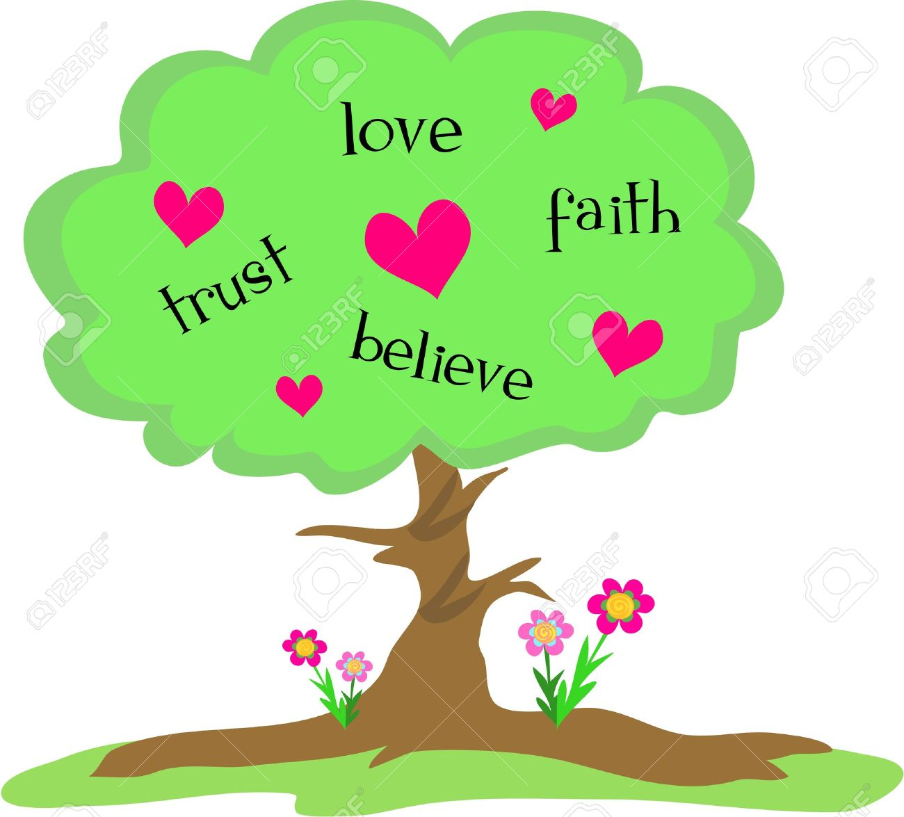 Love Tree With Hearts And Flowers Royalty Free Cliparts Vectors