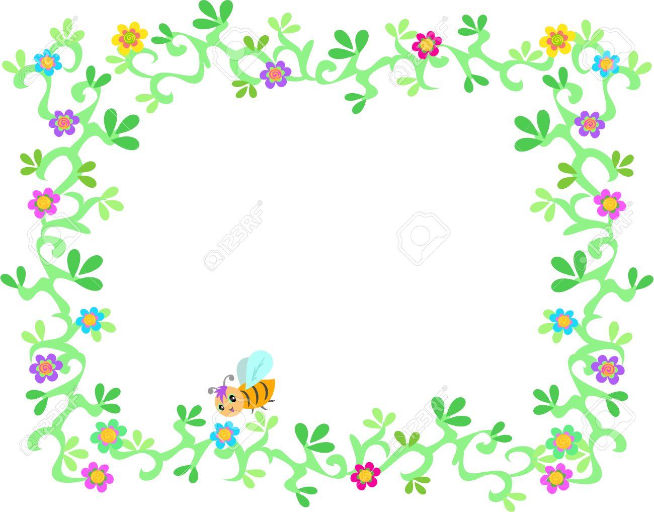 Marco De La Vid Exuberante Jardín, Flores Y Abejas Ilustraciones ...