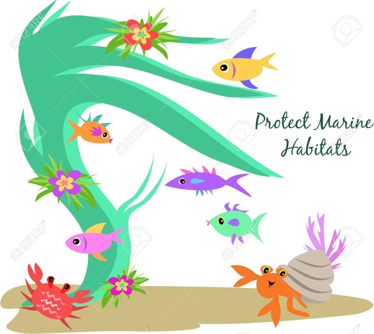 Protect Marine Habitats Stock Vector - 5423423