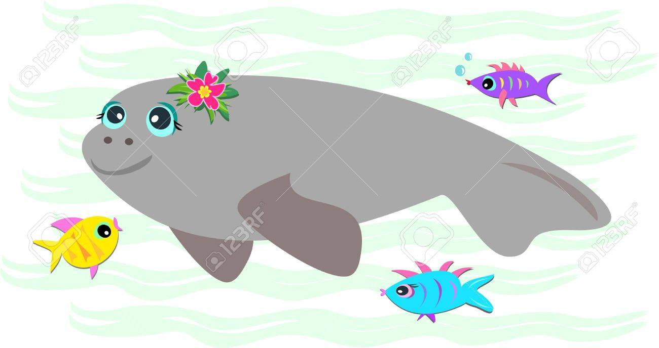 Peaceful Manatee with Friendly Fish Stock Vector - 7513163