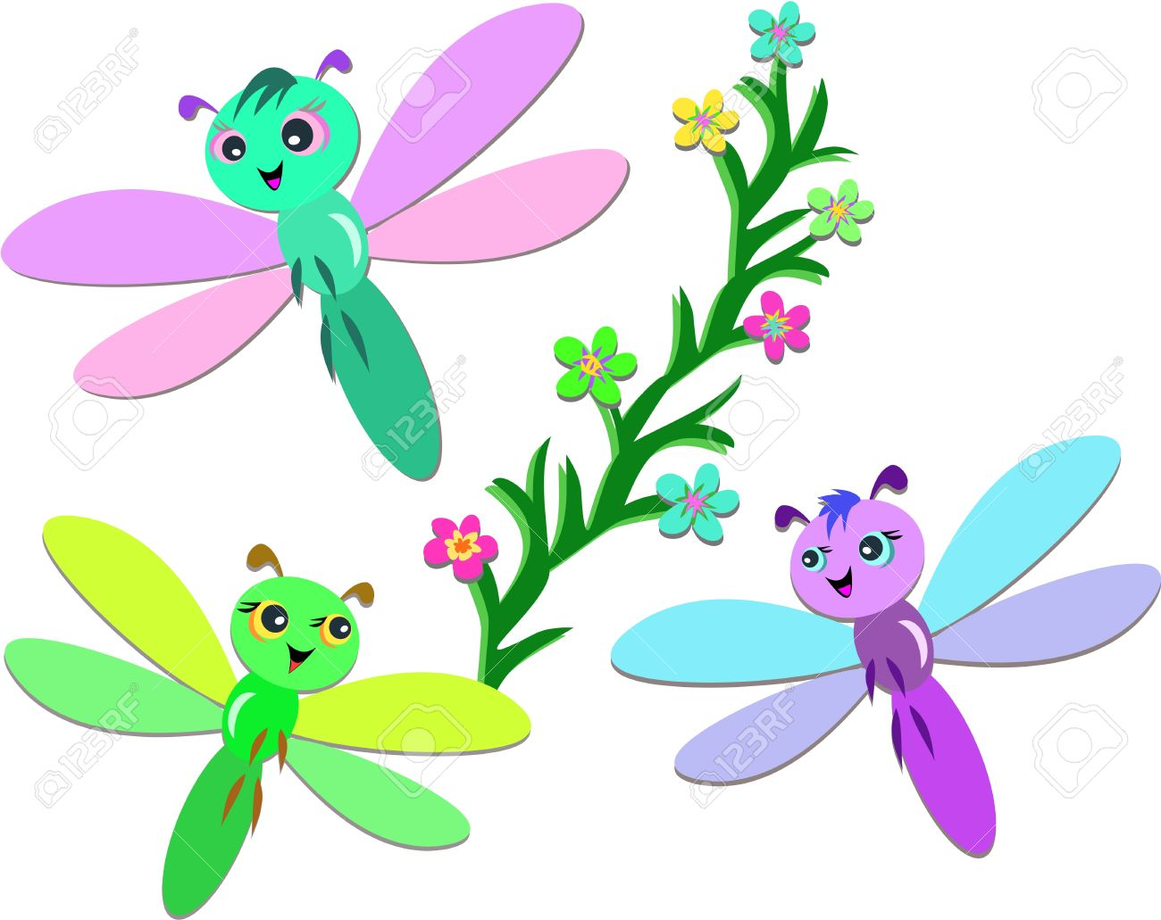 Cute Dragonfly Clipart Trio of Cute Dragonflies