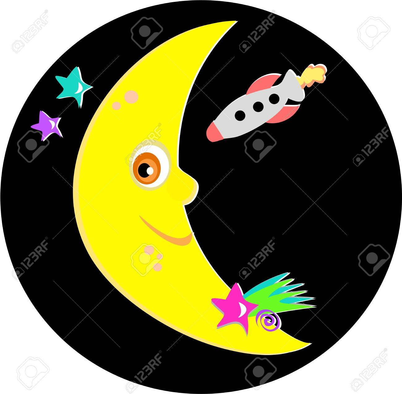Smiling Moon with Rocket and Stars Stock Vector - 8306307
