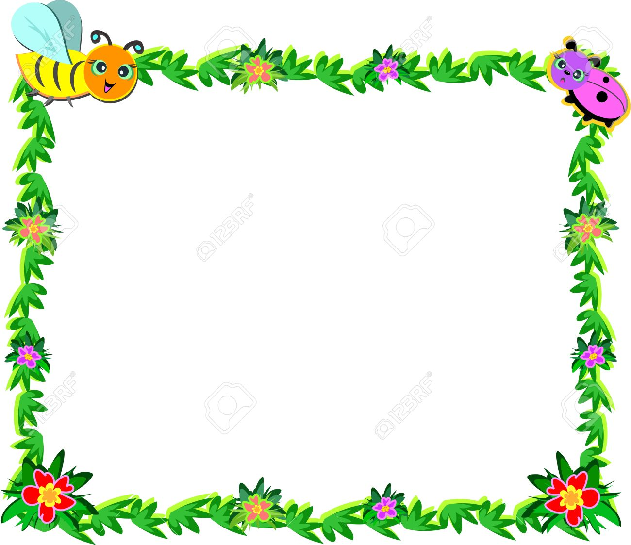 Frame Of Bee, Ladybug, Vines, And Flowers Royalty Free Cliparts ...