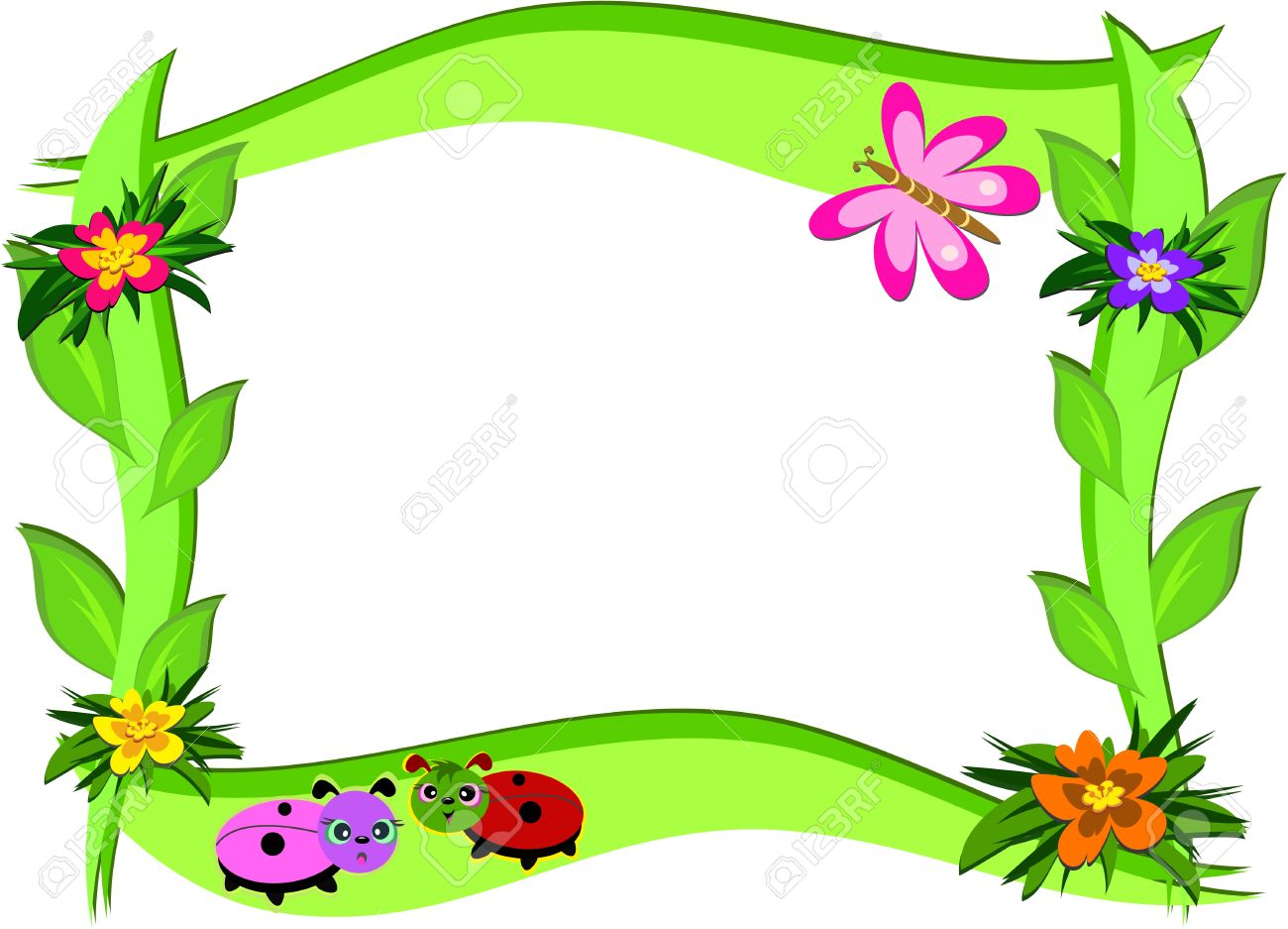Thick Frame With Flowers And Bugs Stock Vector