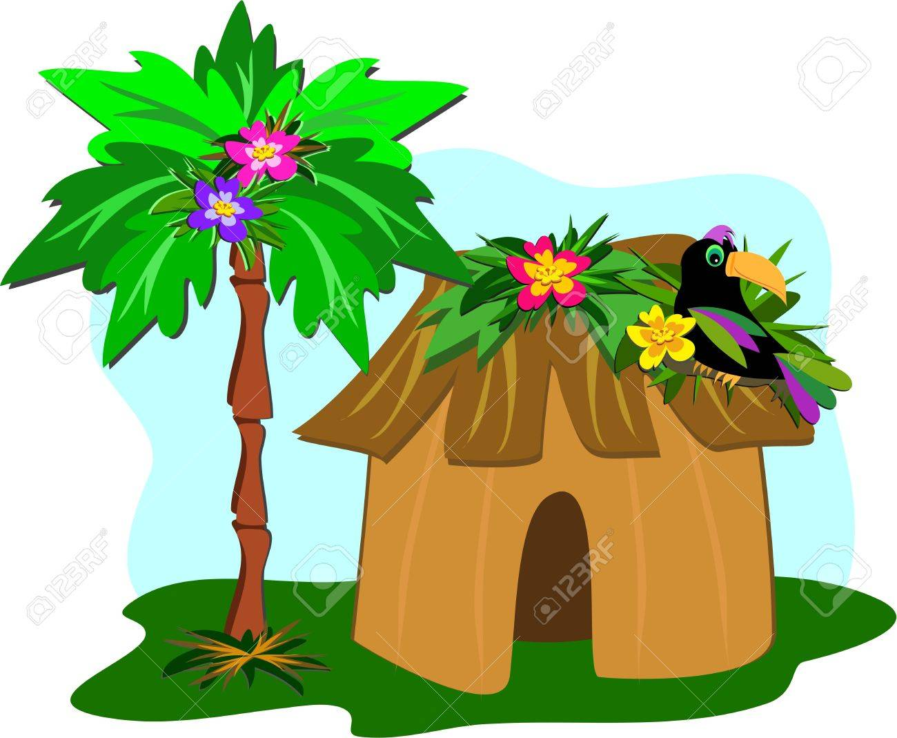 Tropical Hut, Palm Tree, and Toucan Stock Vector - 8987445
