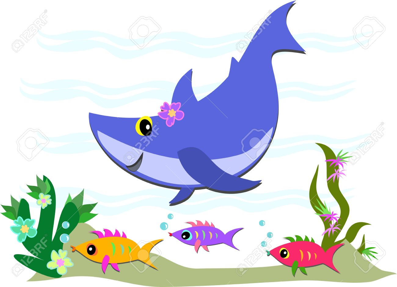 Cute Blue Shark and Fish Friends Stock Vector - 9241920