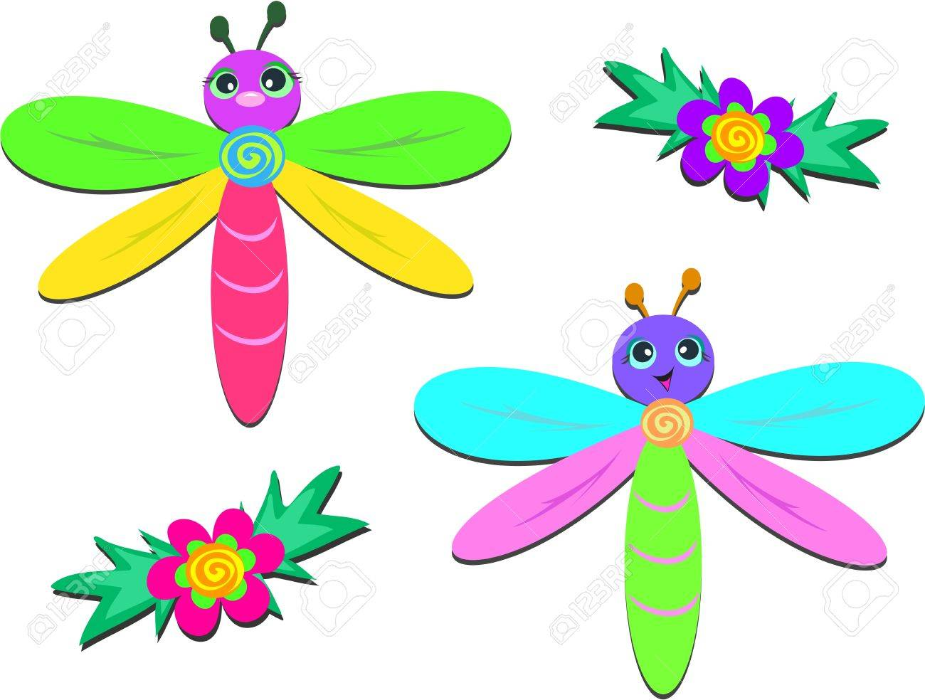 mix of baby dragonflies and flowers royalty free cliparts vectors