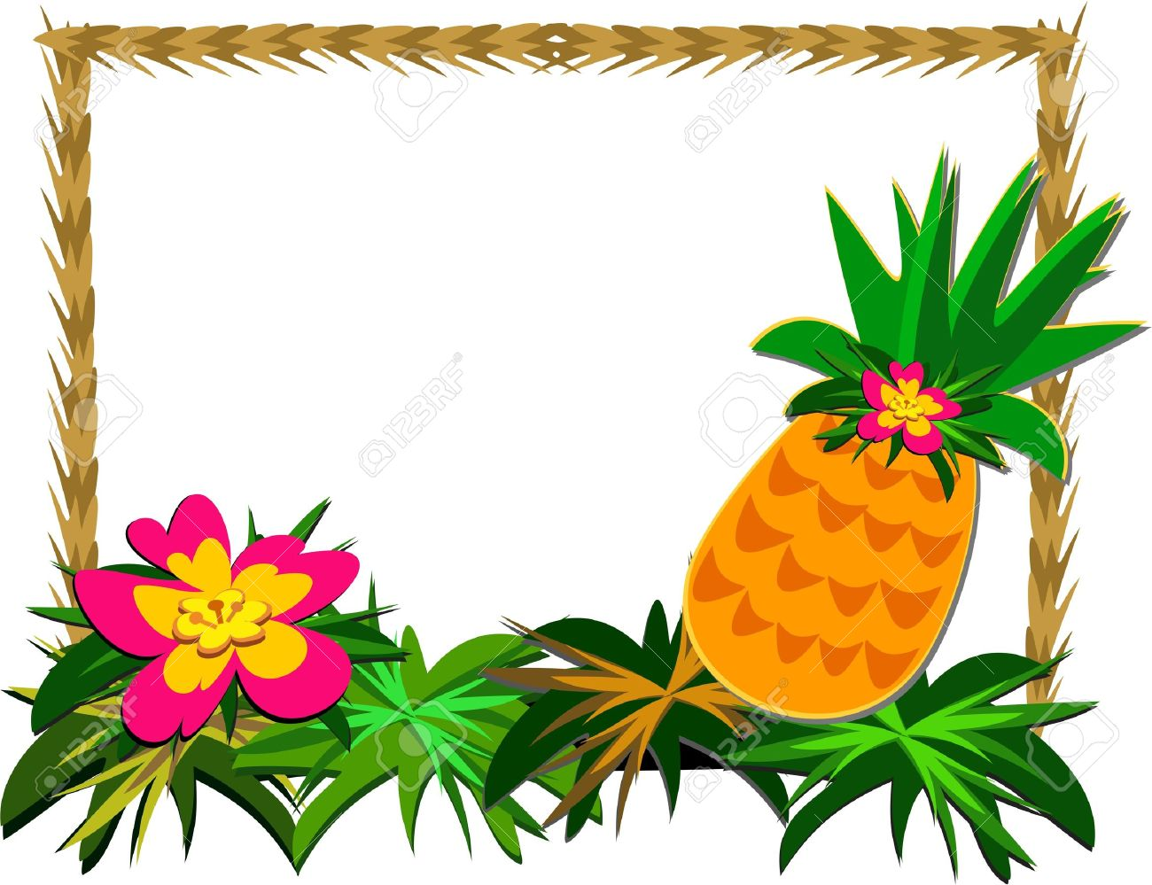 Frame of Tropical Pineapple and Flower Stock Vector - 9270824