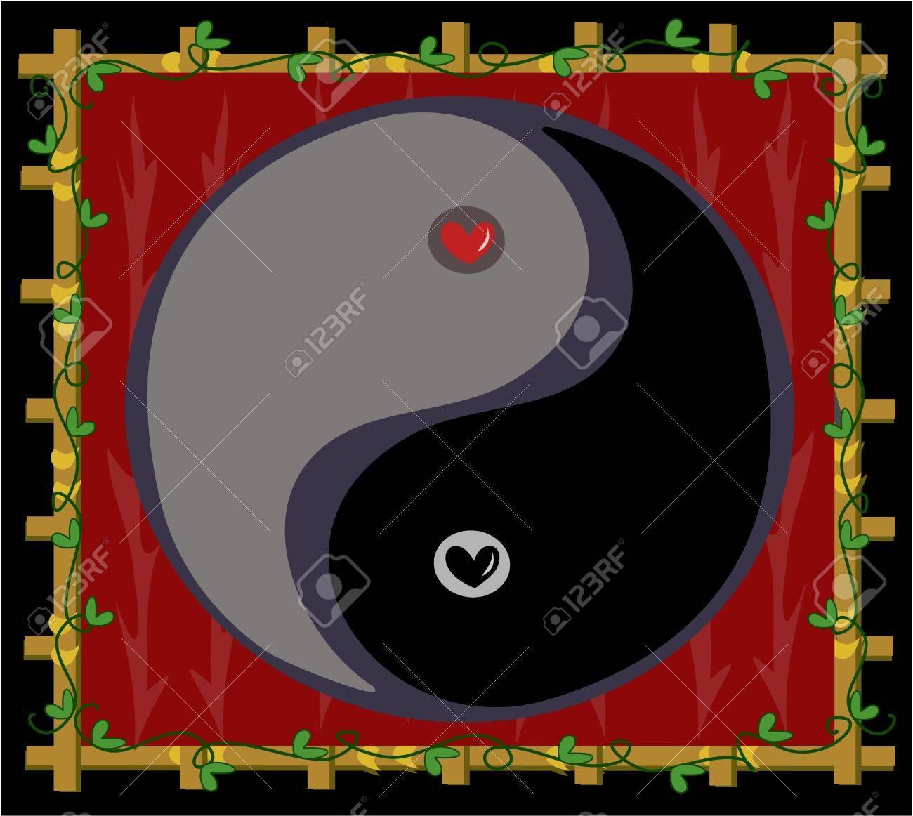 Yin Yang Symbol of Balance with Hearts Stock Vector - 9270821
