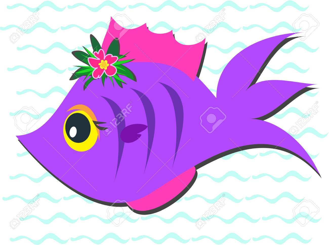 Purple Fish with Hibiscus Flower Stock Vector - 9307836