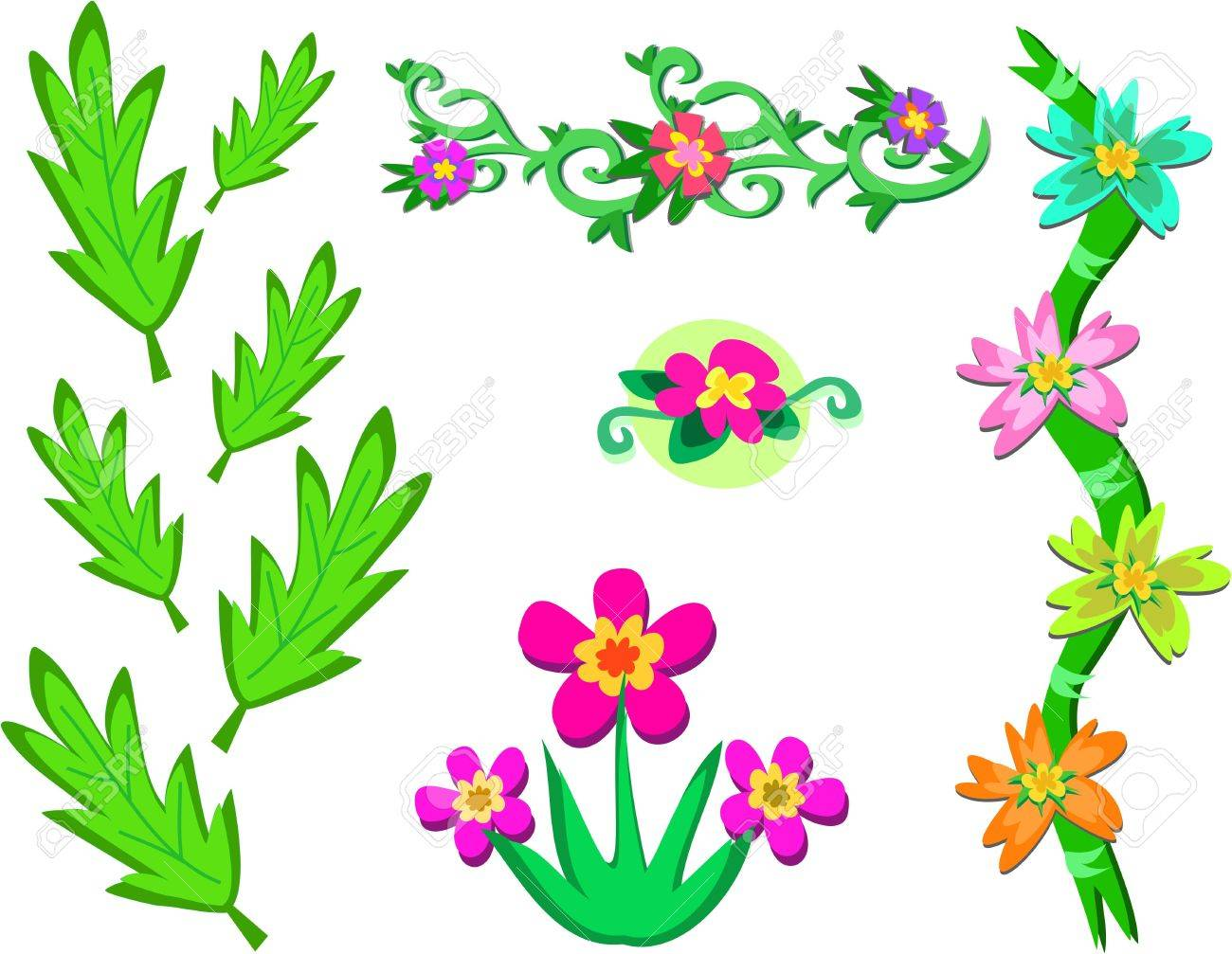 Mix of Flowers, Vines, and Leaves