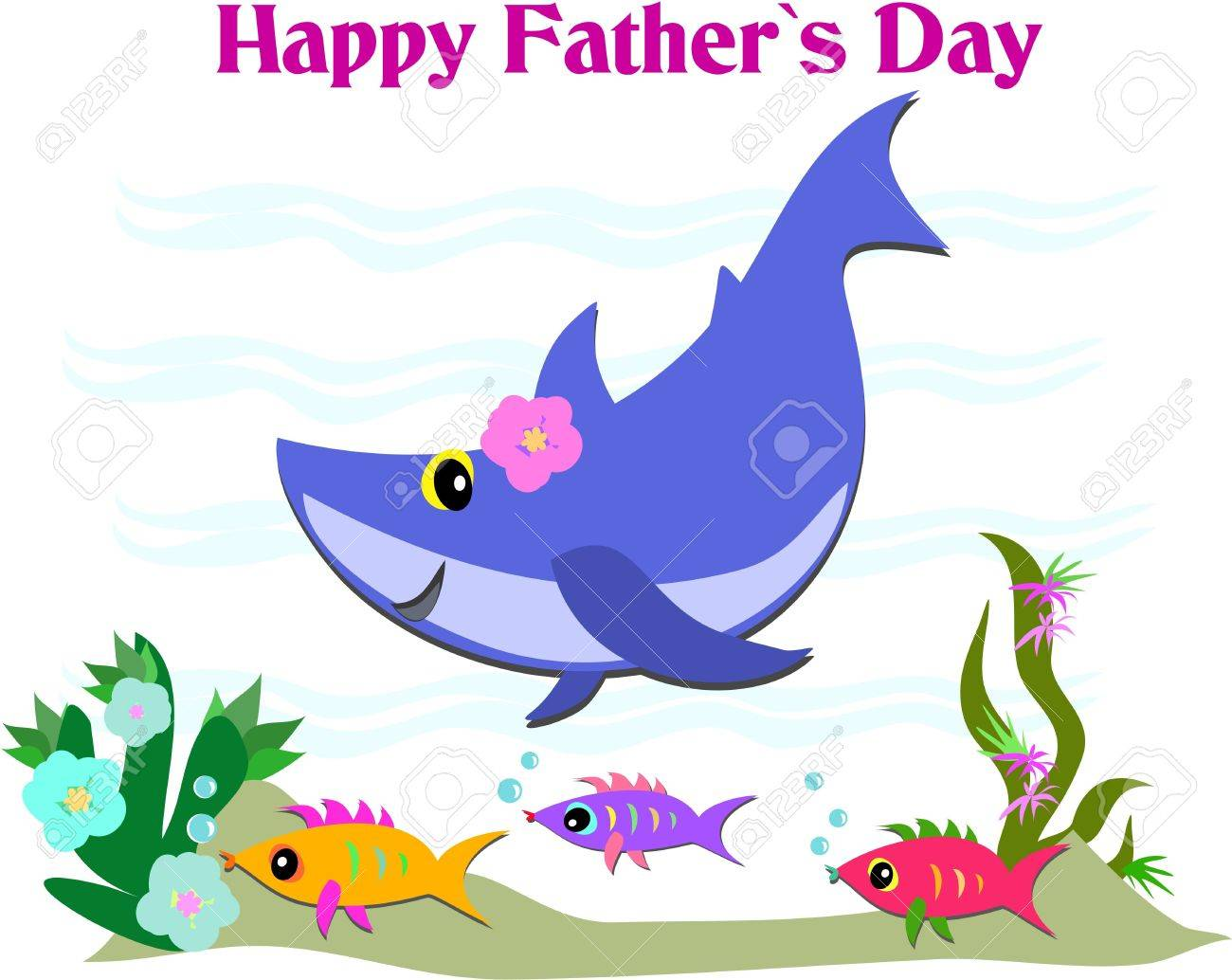 Happy Father's Day Greeting with Shark and Fish Stock Vector - 9330070