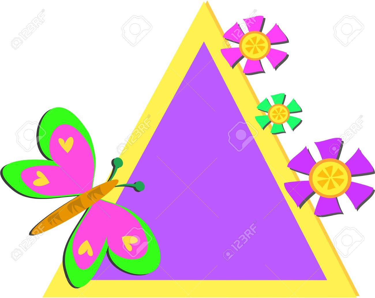 colorful triangle frame with butterfly and flowers stock vector 9596354