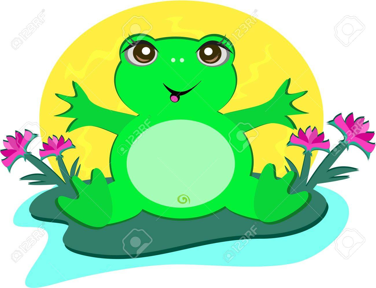 frog with peace lotus flowers royalty free cliparts vectors and rh 123rf com Frog Prince Frog Silhouette