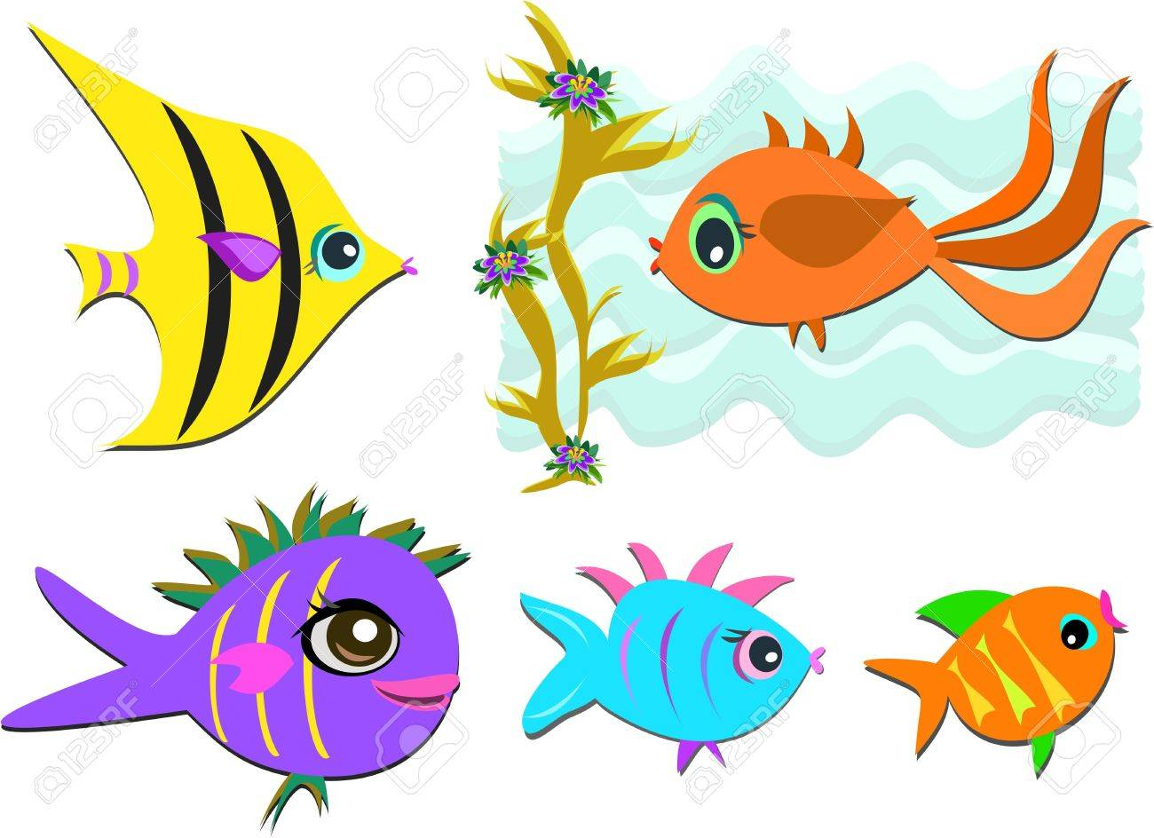 Mix of a Variety of Fish Stock Vector - 10002749