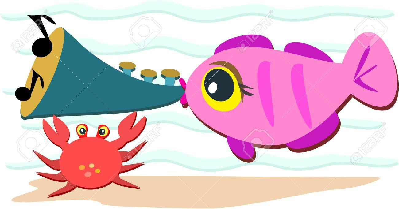 Fish Playing a Horn Stock Vector - 10552694
