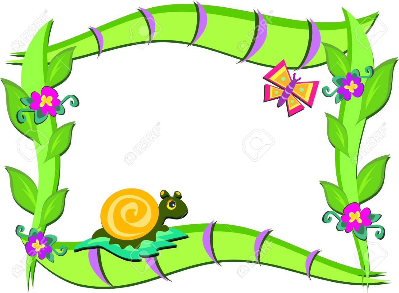 frame of nature plants snail and butterfly royalty free cliparts vectors and stock illustration image 11094446 frame of nature plants snail and butterfly