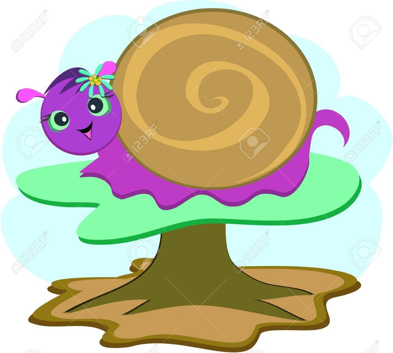 Purple Snail on a Mushroom Stock Vector - 11094455