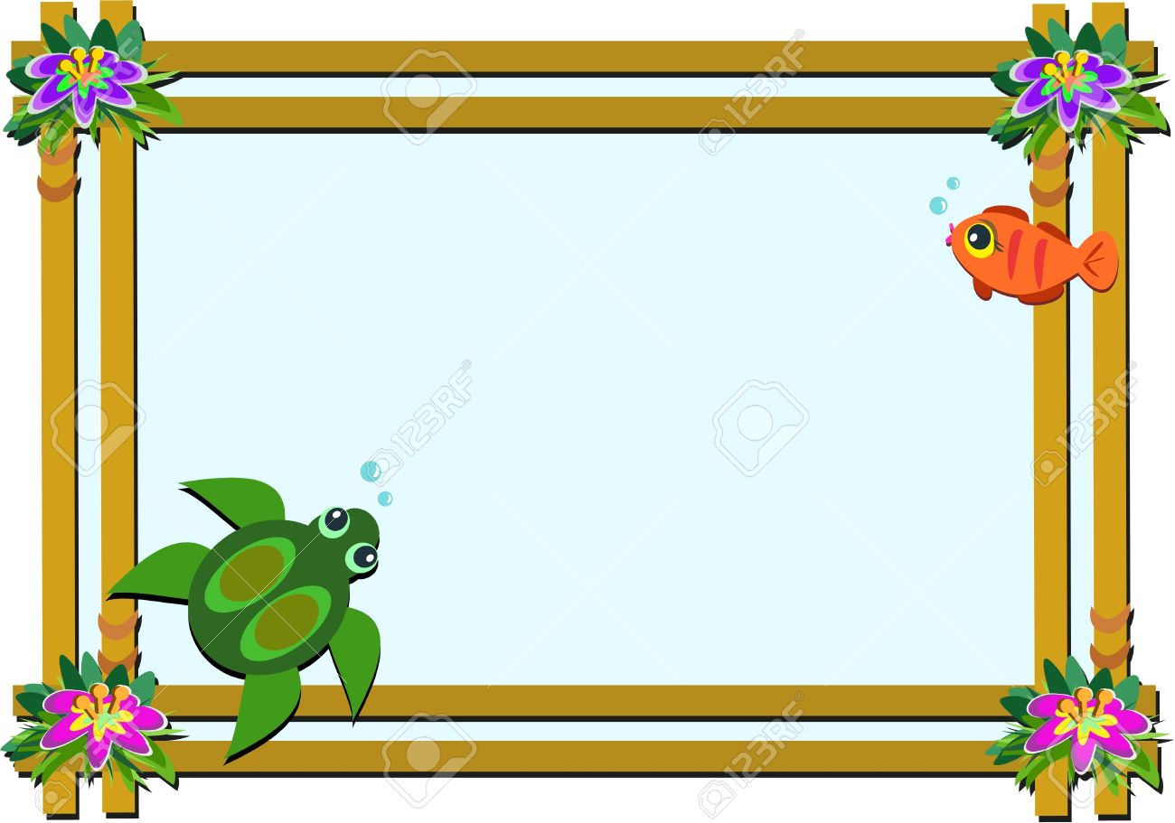 wooden frame with flowers turtle and fish royalty free cliparts