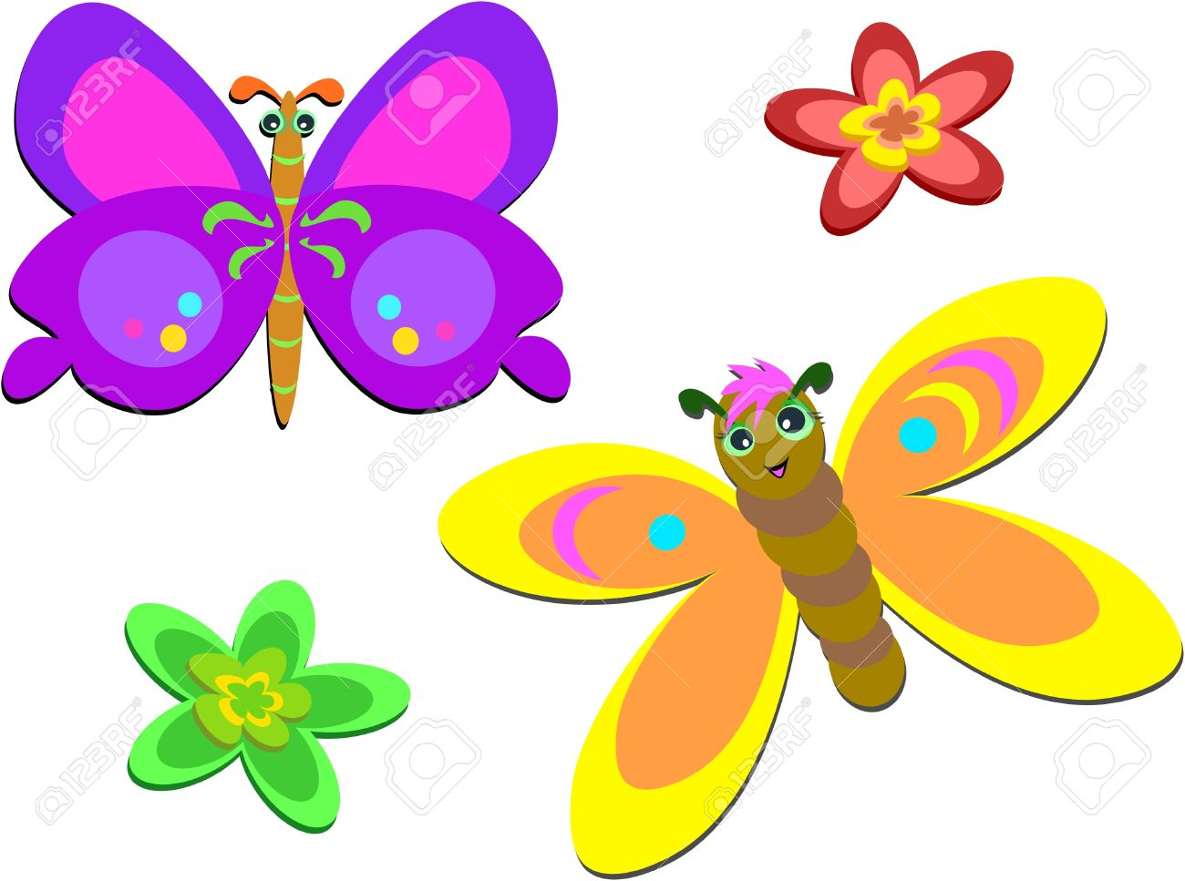 Two Cute Butterflies And Flowers Royalty Free Cliparts, Vectors ...