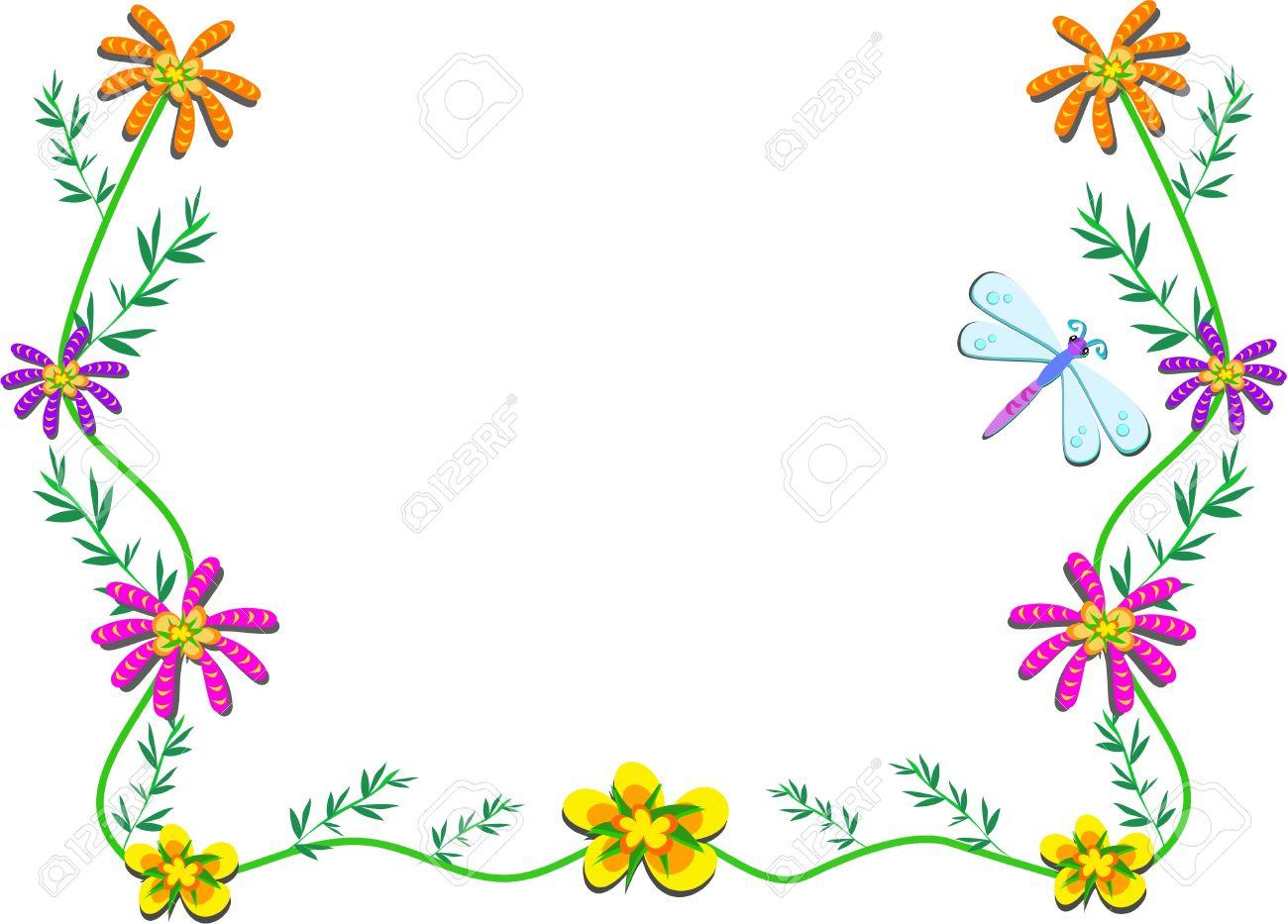 Marco Con Flores Enredaderas Y Libélula Ilustraciones Vectoriales