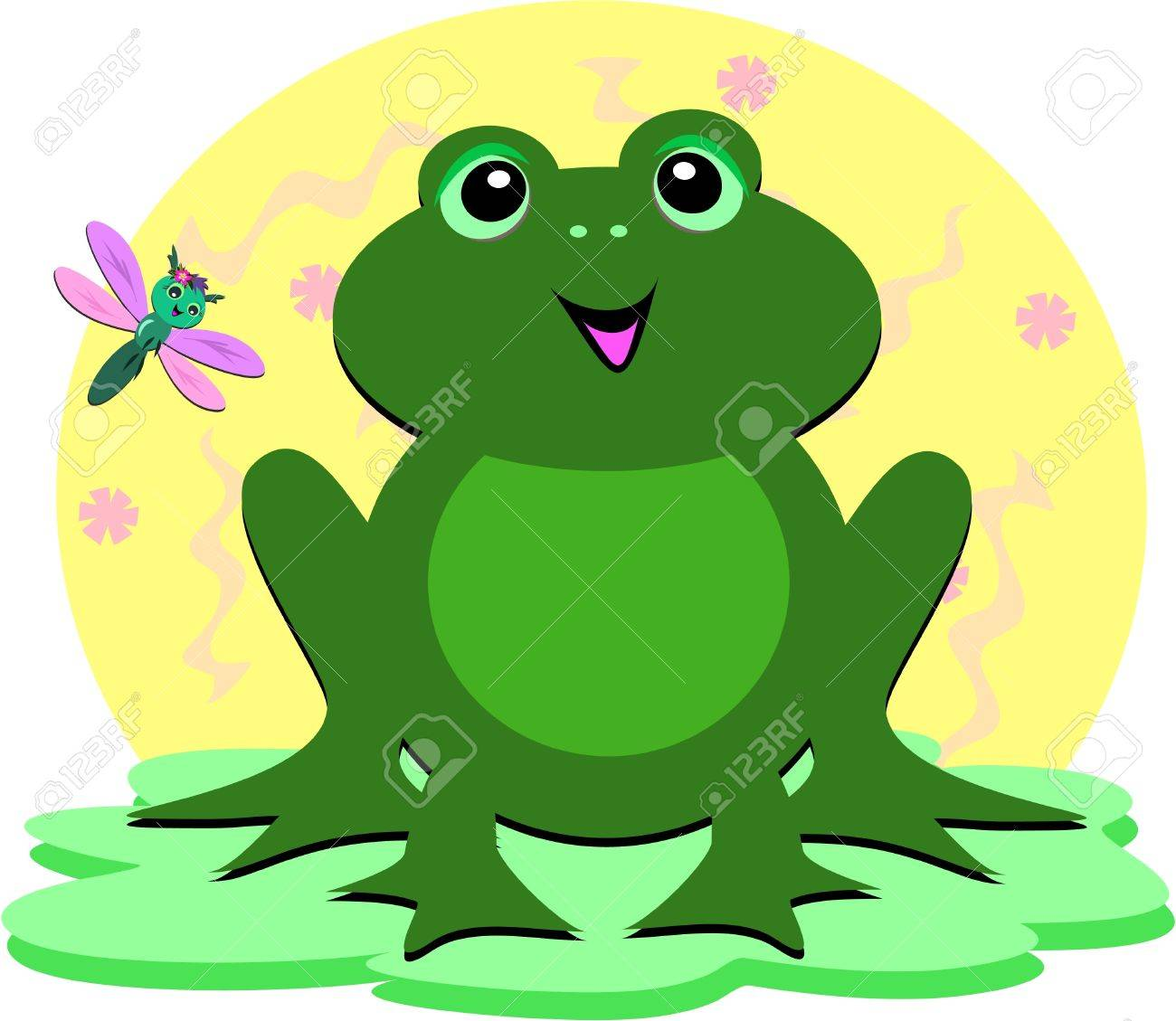 green frog and dragonfly royalty free cliparts vectors and stock