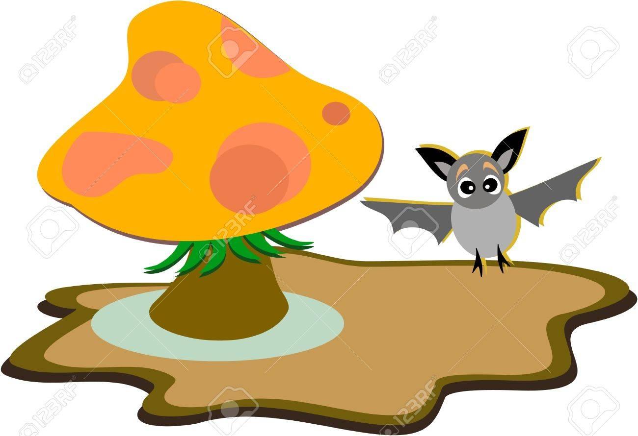 Forest Mushroom and cute Bat Stock Vector - 11377344