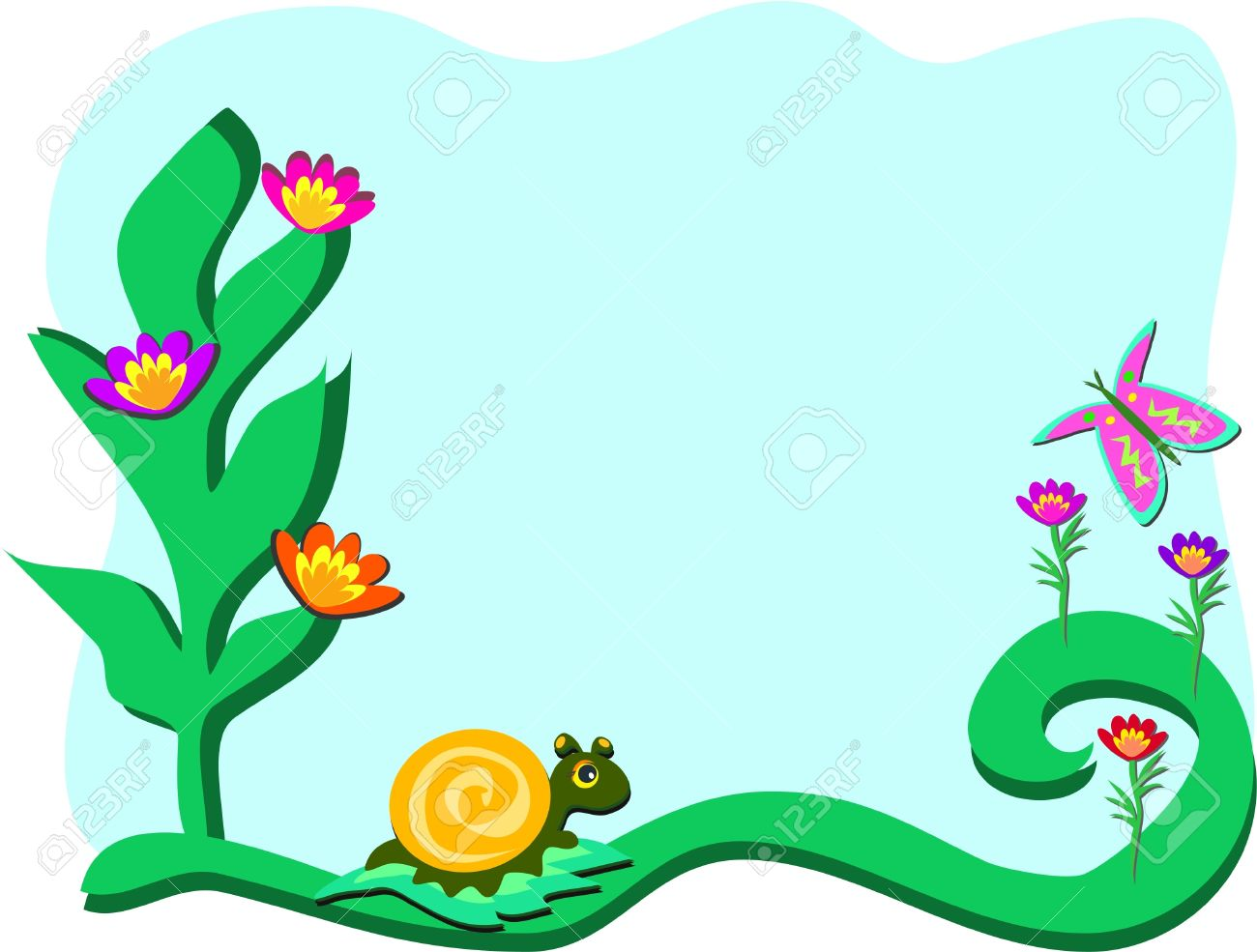 Frame with Garden with Snail and Butterfly Stock Vector - 11377380