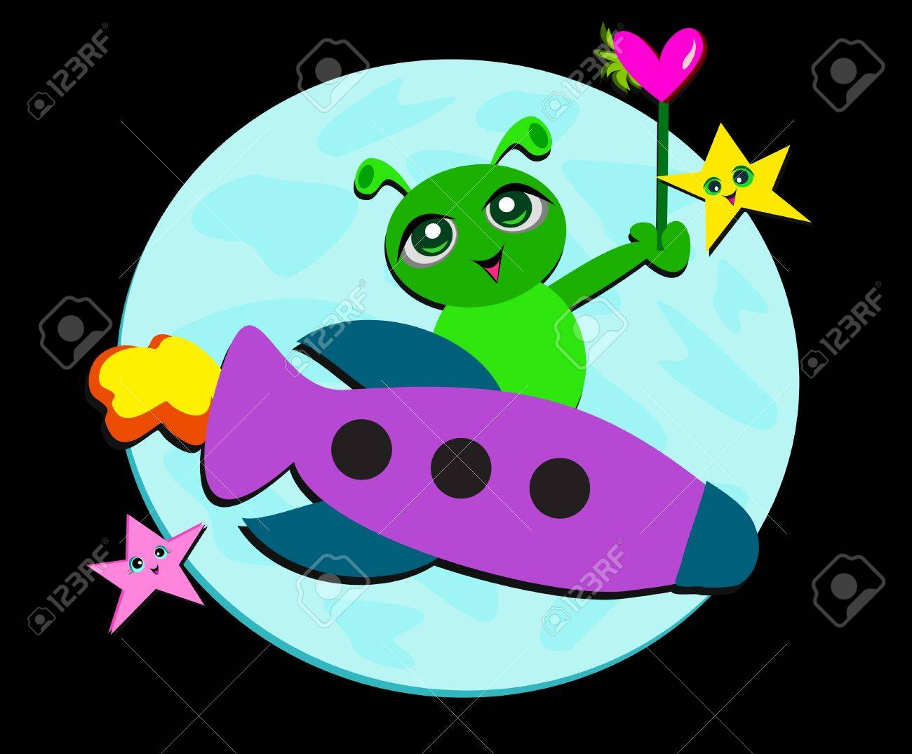 Alien on a Rocket with Stars Stock Vector - 11869202
