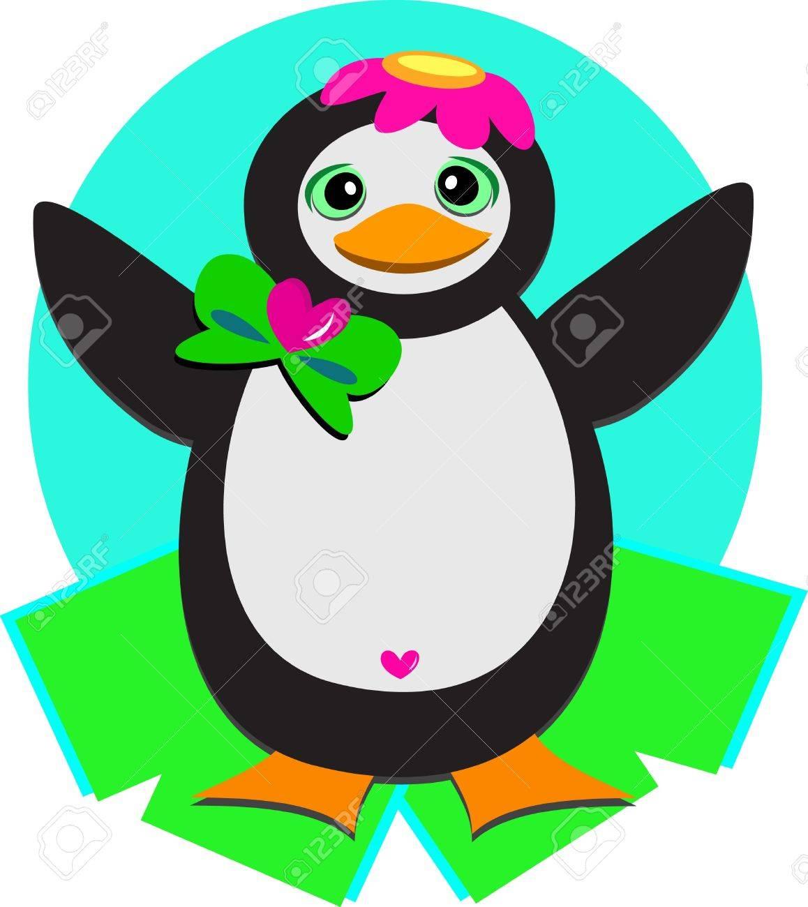 Penguin with Flower Cap Stock Vector - 12369282