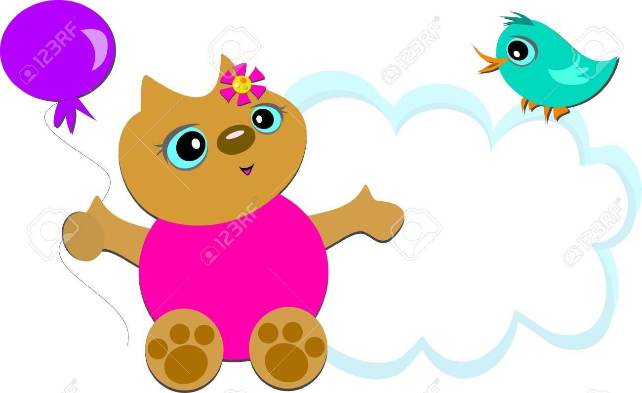 Cat with Balloon and Bird Cloud Stock Vector - 13001910