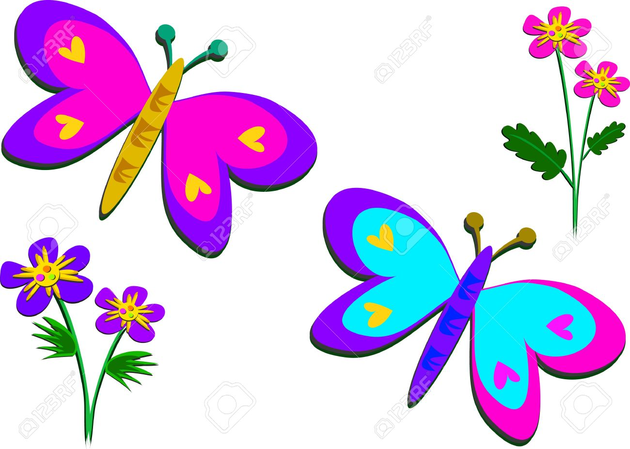 peaceful butterflies and flowers royalty free cliparts vectors