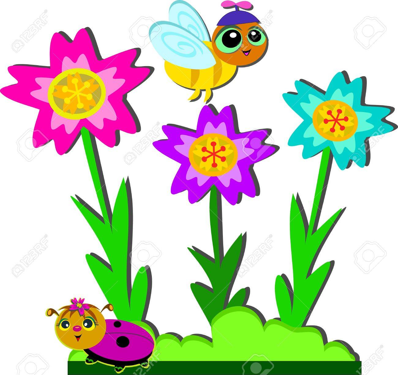 Bee And Ladybug Garden Stock Vector   17690908