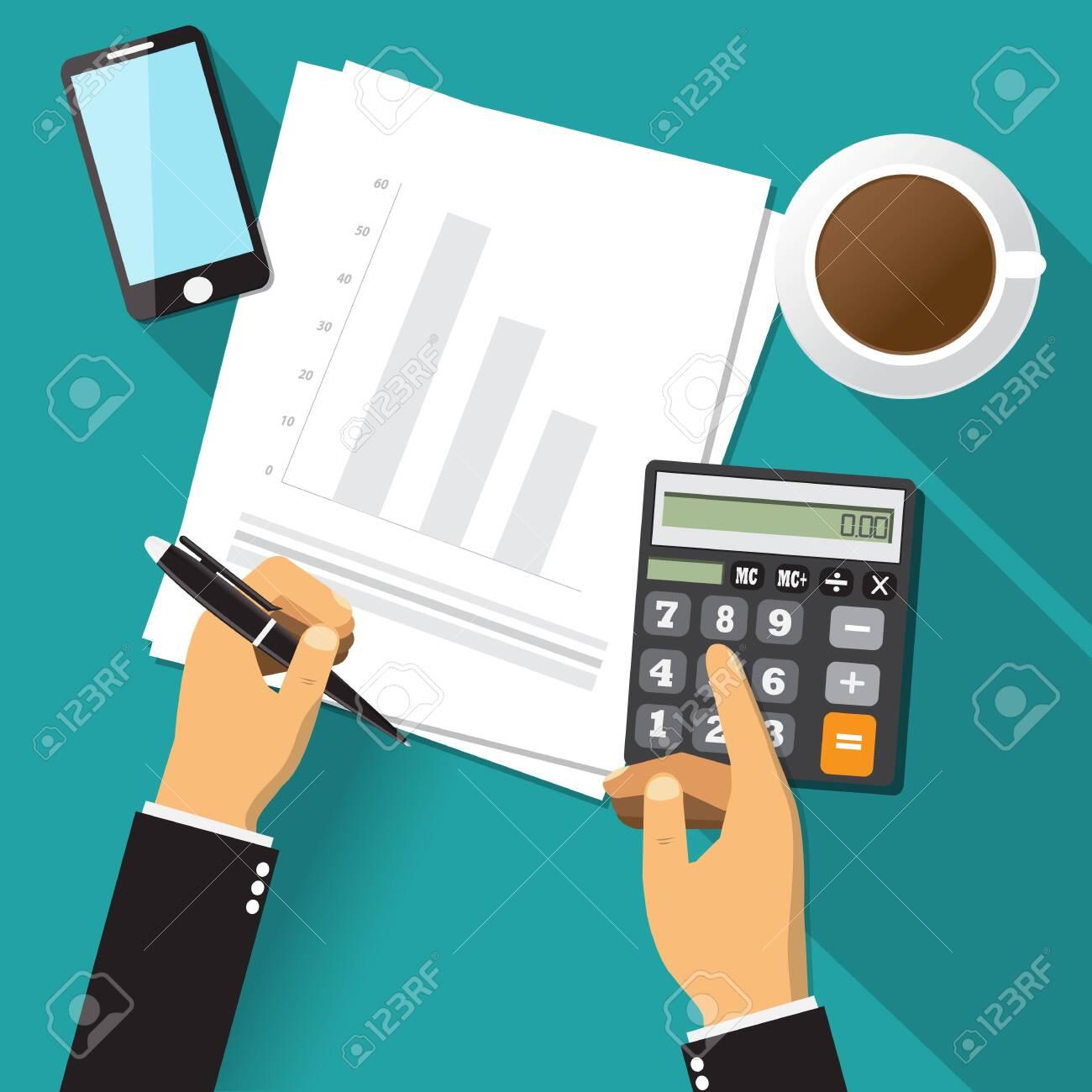 Business adviser financial audit, paper sheet, hands, coffee, smartphone, calculate vector. - 138449356