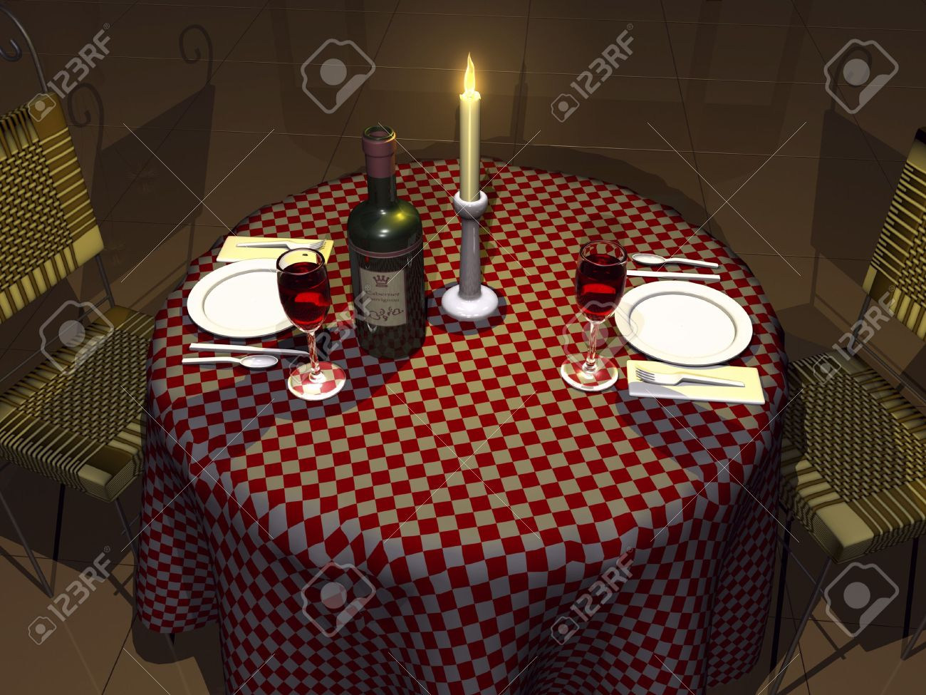 3d table with wine and candle light setting stock photo picture and 3d table with wine and candle light setting stock photo 2050830 aloadofball Images