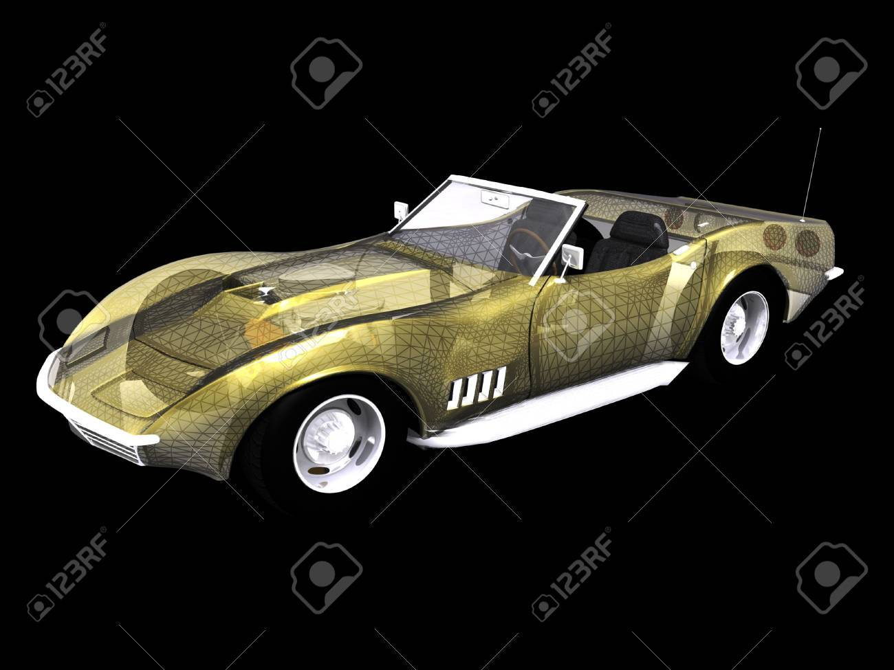 3D Sports car with wire frame on black Stock Photo - 2181653