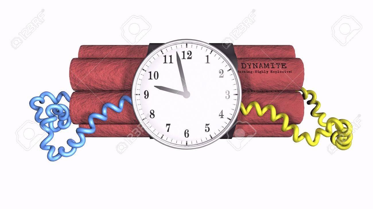 3D illustration of a time bomb on white background Stock Illustration - 3848893