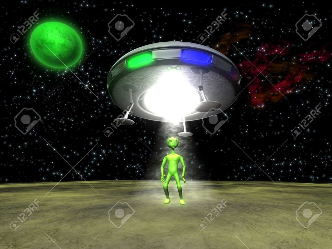 3d alien with a ufo on green planet stock photo picture and royalty