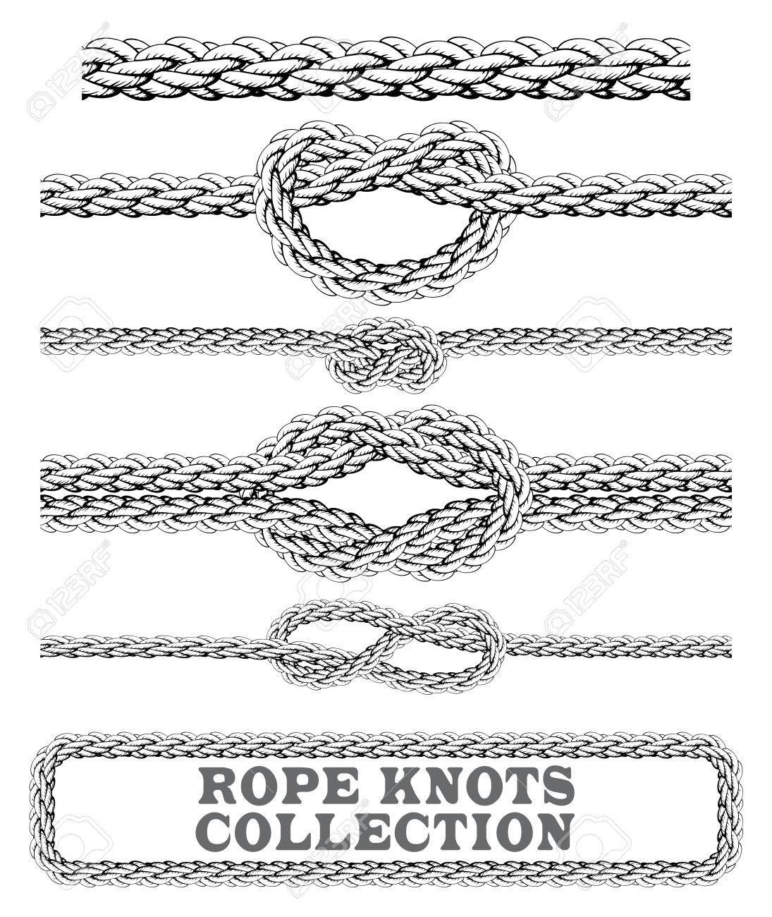 Square Knots Knot Diagram Photo Stock Vector Rope Collection Overhand Figure Of Eight And Seamless Decorative Elements