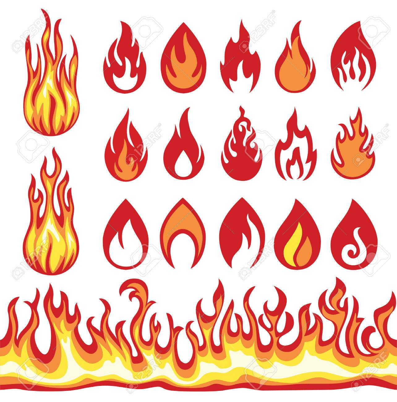Set of Flame icons. Fire symbols. - 49278244