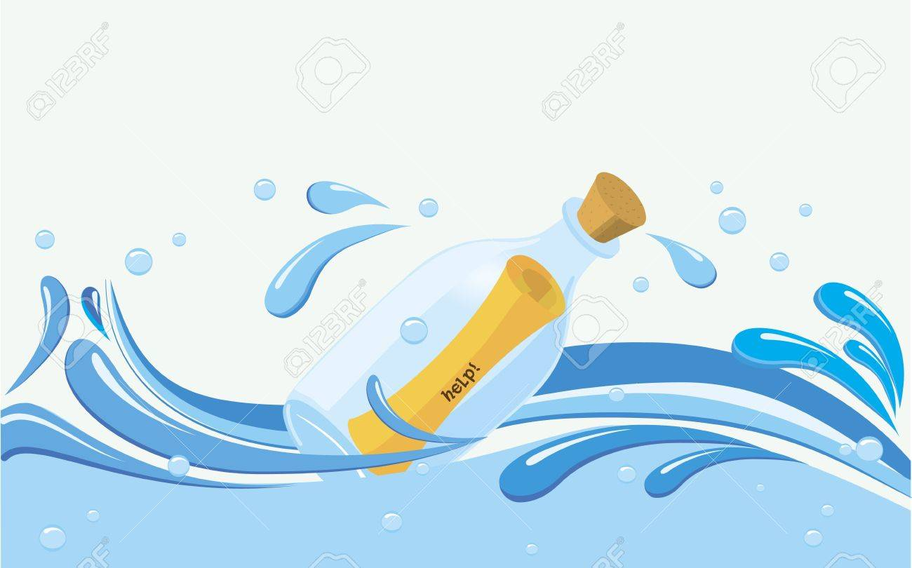 bottle paper scroll message in it on water variable text vector bottle paper scroll message in it on water variable text samples help contact us message received go the flow fully editable